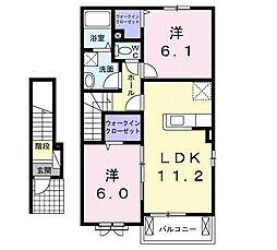 JR美祢線 美祢駅 徒歩16分の賃貸アパート 2階2LDKの間取り
