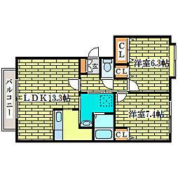 ミュー平岡[3階]の間取り