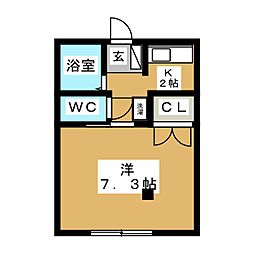 ワンルームピコ[2階]の間取り