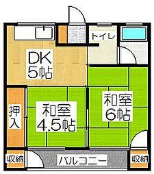 京都府京都市山科区西野山百々町の賃貸アパートの間取り