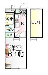 東京都足立区一ツ家1の賃貸アパートの間取り