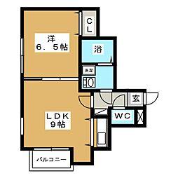 ブランノワール南麻生[4階]の間取り