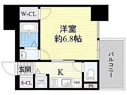 近鉄大阪線 大阪上本町駅 徒歩5分の賃貸マンション 8階1Kの間取り