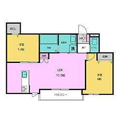 仮称)中央区平尾3丁目ヘーベルメゾン ペット共同棟 3階2LDKの間取り
