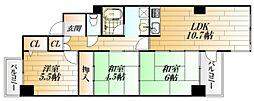 広島県広島市中区東千田町2丁目の賃貸マンションの間取り