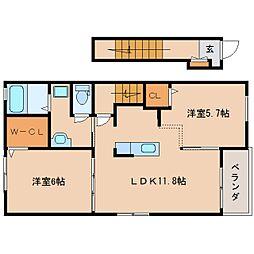 JR関西本線 王寺駅 バス16分 上牧町役場下車 徒歩8分の賃貸アパート 2階2LDKの間取り