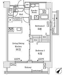 新交通ゆりかもめ 新豊洲駅 徒歩22分の賃貸マンション 6階2LDKの間取り