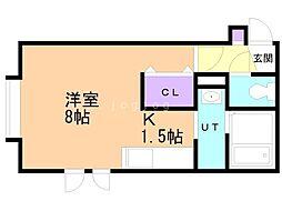 シェリール澄川 1階1Kの間取り