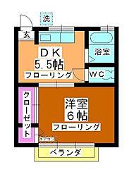 奥冨荘[203号室]の間取り