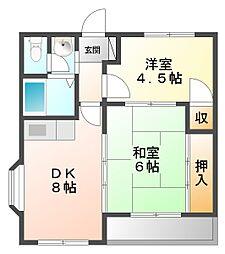 ロイヤル久寿川[3階]の間取り