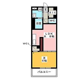 エルヴィータ 4階1LDKの間取り