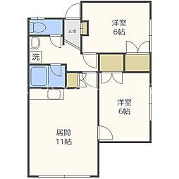北海道札幌市豊平区平岸四条10丁目の賃貸アパートの間取り