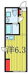 東武東上線 中板橋駅 徒歩4分の賃貸マンション 4階ワンルームの間取り