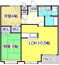 東京都小金井市貫井南町3丁目の賃貸マンションの間取り