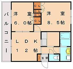ベルエポック桜川B[1階]の間取り