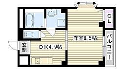 Osaka Metro長堀鶴見緑地線 横堤駅 徒歩7分の賃貸マンション 4階1DKの間取り