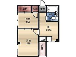 マンションニューシャトー 2階1DKの間取り