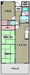 大阪府大阪狭山市茱萸木2丁目の賃貸マンションの間取り