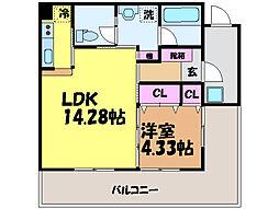 愛媛県松山市居相4丁目の賃貸マンションの間取り