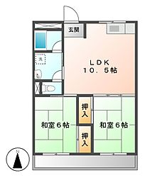 ピソブランコ立松[3階]の間取り