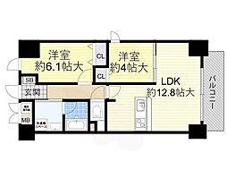 Osaka Metro御堂筋線 あびこ駅 徒歩10分の賃貸マンション 5階2LDKの間取り