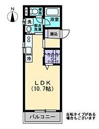 Maison de QuarterII(メゾン・ド・キャトル) 1階ワンルームの間取り