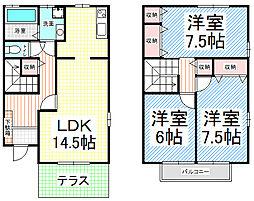 [テラスハウス] 長野県長野市若里3丁目 の賃貸【/】の間取り