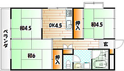 福岡県北九州市小倉北区中井1丁目の賃貸アパートの間取り