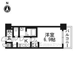 プレサンスTHE KYOTO華苑202 2階1Kの間取り