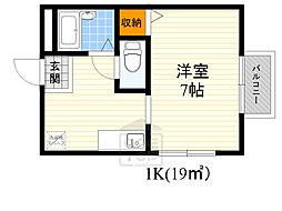ルミエール円山 2階1Kの間取り