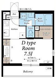 小田急小田原線 海老名駅 徒歩16分の賃貸マンション 2階1Kの間取り