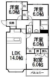 北海道札幌市中央区南二十条西14丁目の賃貸マンションの間取り