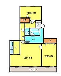 KDマンション1[1階]の間取り