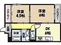 ナカノハイツパート5 1階2DKの間取り