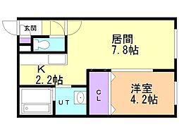 フェリオ栄通 1階1LDKの間取り