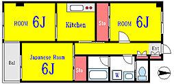 都営新宿線 船堀駅 徒歩14分の賃貸マンション 2階3Kの間取り
