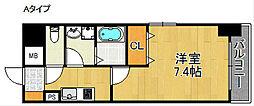 フォンテーヌ加賀屋 3階1Kの間取り