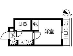 神奈川県大和市上草柳3丁目の賃貸マンションの間取り