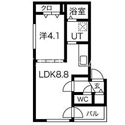 メニーズコート東屯田通 4階1LDKの間取り