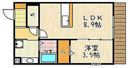 セジュール石田森南 1階1LDKの間取り