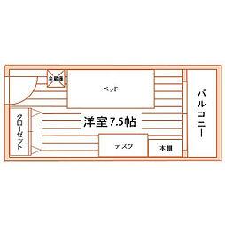 女子学生会館ユニハーモニー松戸食事付き[2階]の間取り