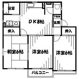 東京都町田市金森2丁目の賃貸アパートの間取り
