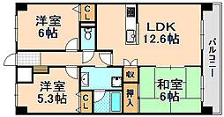 兵庫県伊丹市荒牧7丁目の賃貸マンションの間取り