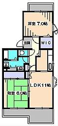 東京都西東京市富士町1丁目の賃貸マンションの間取り
