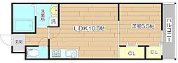 (仮称)フジパレス神内 2階1LDKの間取り