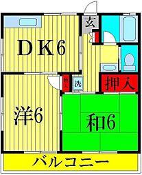 千葉県松戸市五香6の賃貸アパートの間取り