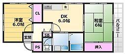 ルミエール梅北マンション 3階2DKの間取り