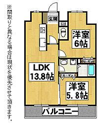 福岡県北九州市八幡西区日吉台3丁目の賃貸マンションの間取り