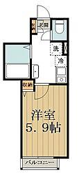 バークレーコート高円寺 2階1Kの間取り