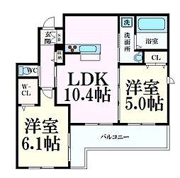 阪急神戸本線 六甲駅 徒歩8分の賃貸アパート 3階2LDKの間取り